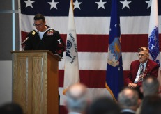 EVERETT, Wash. (Nov. 9, 2016) Petty Officer 1st Class Steven LeGuillow serves as master of ceremonies for the annual Naval Station Everett Veterans Day ceremony in the Grand Vista Ballroom. The event honors veterans, past and present, who served in the United States Armed Forces. (U.S. Navy photo by Petty Officer 3rd Class Joseph Montemarano/Released)