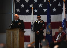 EVERETT, Wash. (Nov. 9, 2016) Capt. Mark A. Lakamp, Naval Station Everett commanding officer, speaks during the annual Naval Station Everett Veterans Day ceremony in the Grand Vista Ballroom. The event honors veterans, past and present, who served in the United States Armed Forces. (U.S. Navy photo by Petty Officer 3rd Class Joseph Montemarano/Released)