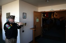OAK HARBOR, Wash. (Dec. 7, 2016) Jeff Weinstock, base safety office, performs Taps during a Pearl Harbor commemoration in the base chapel of Naval Air Station Whidbey Island. The event marked the 75th anniversary of the Dec. 7, 1941 Japanese attack on Pearl Harbor. (U.S. Navy photo by Petty Officer 2nd Class John Hetherington/Released)