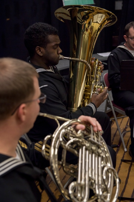 161214-N-ZP059-011 SILVERDALE Wash. (Dec. 14, 2016) Petty Officer 3rd Class Patrick Melvin, a member of Navy Band Northwest's Brass Quintet, plays his tuba during a holiday concert at Central Kitsap Middle School. This was the first time that the Brass Quintet has played at Central Kitsap Middle School. (U.S. Navy photo by Petty Officer 2nd Class Jacob G. Sisco/Released)