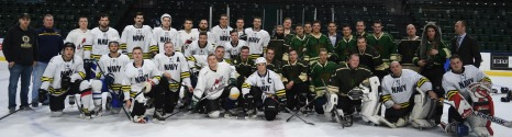 170204-N-WX604-649 EVERETT, Wash. (Feb. 4, 2017) – Army and Navy hockey teams pose for a group picture after the 2nd Annual Pacific Northwest Army-Navy ice hockey game at the Xfinity Arena. The Everett Silvertips, a minor league hockey team, hosted the Morale, Welfare, and Recreation sponsored event. (U.S. Navy photo by Mass Communication Specialist 3rd Class Joseph Montemarano/Released)