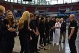 170610-N- HM829-004 PORTLAND, Ore. (June 10, 2017) Vice Adm. Nora Tyson, commander of U.S. 3rd Fleet, greets Portland High School chorus singers at the Veterans Memorial Coliseum before the Grand Floral Parade during Portland Rose Festival Fleet Week 2017. The festival and Portland Fleet Week are a celebration of the sea services with Sailors, Marines, and Coast Guard members from the U.S. and Canada making the city a port of call. (U.S. Navy photo by Mass Communication Specialist 2nd Class K. Cecelia Engrums/Released)