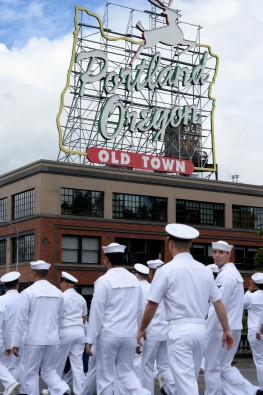 PORTLAND, Ore. (June 10, 2017) – Sailors assigned to the guided-missile cruiser USS Bunker Hill (CG 52), march in the Grand Floral Parade during Rose Festival Fleet Week in Portland, Ore., June 10. The festival and Portland Fleet Week are a celebration of the sea services with Sailors, Marines and Coast Guard members from the U.S. and Canada making the city a port of call. (U.S. Navy photo by Mass Communication Specialist 1st Class Eva-Marie Ramsaran/Released)