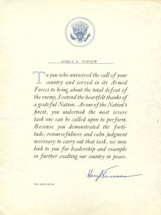 Letter to Schramm from President Truman