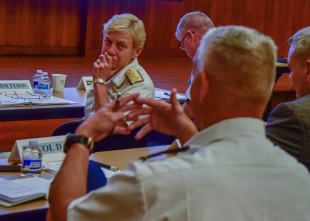 170803-N-MT581-161 SEATTLE (Aug. 03, 2017) Vice Adm. Nora Tyson, commander, U.S. 3rd Fleet, listens to a question from an attendee at a Defense Support of Civilian Authorities (DSCA) senior leadership seminar held at the Jackson Federal Building during Seattle Seafair Fleet Week. Seafair Fleet Week is an annual celebration of the sea services wherein Sailors, Marines and Coast Guard members from visiting U.S. Navy and Coast Guard ships and ships from Canada make the city a port of call. (U.S. Navy photo by Mass Communication Specialist 2nd Class Curtis D. Spencer/Released.)