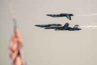 170805-N-ZP059-372 SEATTLE (Aug. 5, 2017) – The U.S. Navy Flight Demonstration Squadron, the Blue Angels, fly in formation over Lake Washington while performing at an airshow during Seattle's 68th annual Seafair Fleet Week. Seafair Fleet Week is an annual celebration of the sea services wherein Sailors, Marines and Coast Guard members from visiting U.S. Navy and Coast Guard ships and ships from Canada make the city a port of call. (U.S. Navy photo by Mass Communication Specialist 2nd Class Jacob G. Sisco/Released)