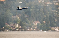170805-N-ZP059-442 SEATTLE (Aug. 5, 2017) – A pilot with the U.S. Navy Flight Demonstration Squadron, the Blue Angels, flies low over Lake Washington while performing at an airshow during Seattle's 68th annual Seafair Fleet Week. Seafair Fleet Week is an annual celebration of the sea services wherein Sailors, Marines and Coast Guard members from visiting U.S. Navy and Coast Guard ships and ships from Canada make the city a port of call. (U.S. Navy photo by Mass Communication Specialist 2nd Class Jacob G. Sisco/Released)