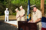 170921-N-EH218-037 SILVERDALE, Wash. (Sept. 21, 2017) Lt. Brandon Korter, chaplain assigned to Navy Operational Support Center Kitsap, delivers the invocation during a Bells Across America remembrance event held at the 9/11 Memorial Park on Naval Base Kitsap (NBK) - Bangor. NBK and the Navy Gold Star Program hosted the ceremony to honor fallen service members and gold star families. (U.S. Navy photo by Mass Communication Specialist 2nd Class Ryan J. Batchelder/Released)