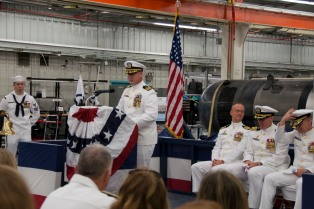 KEYPORT, Wash. (Sept. 26, 2017) Cmdr. Scott Smith, from Hartford, South Dakota, delivers remarks during the establishment ceremony for Unmanned Undersea Vehicle Squadron (UUVRON) 1. UUVRON 1 was originally a detachment that fell under commander, Submarine Development Squadron 5. (U.S. Navy photo by Mass Communication Specialist 1st Class Amanda R. Gray/Released)