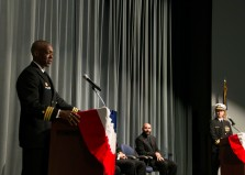 KEYPORT, Wash. (Oct. 06, 2017) Cmdr. Melvin Smith, from Long Island, New York, delivers remarks during the change of command ceremony for the Seawolf-class fast attack submarine USS Jimmy Carter (SSN 23). During the ceremony, held at the Keyport Undersea Museum, Smith turned over command to Cmdr. Keith Floyd, from Rocky Mount, North Carolina. (U.S. Navy photo by Mass Communication Specialist 1st Class Amanda R. Gray/Released)