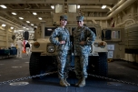 180731-M-OI329-1123 SEATTLE (Aug 1, 2018) U.S Marine Corps Sgt. Aremy Magana and Lance Cpl. Jocelyn Valdez pose for a picture aboard amphibious transport dock ship USS Somerset (LPD 25) during Seafair Fleet Week. Seafair Fleet Week is an annual celebration of the sea services wherein Sailors, Marines and Coast Guard members from visiting U.S. Navy and Coast Guard ships and ships from Canada make the city a port of call. (U.S. Marine Corps photo by Cpl. Joseph Prado)