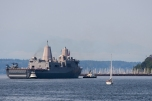 180731-M-ST406-1040 SEATTLE (July 31, 2018) The USS Somerset (LPD 25) participates in the Parade of Ships during the 69th annual Seafair Fleet Week. Seafair Fleet Week is an annual celebration of the sea services wherein Sailors, Marines and Coast Guard members from visiting U.S. Navy and Coast Guard ships and ships from Canada make the city a port of call. (U.S. Marine Corps photo by Ana S. Madrigal)