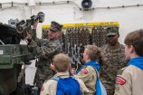 180731-N-DA737-0160 PUGET SOUND, Wash. (July 31, 2018) Private First Class Callen Shouts displays a Shoulder-Launched Multi-Purpose Assault Weapon to ship riders onboard the amphibious transport dock ship USS Somerset (LPD 25). Somerset is arriving in Seattle for Seafair Fleet Week, an annual celebration of the sea services wherein Sailors, Marines and Coast Guard members from visiting U.S. Navy and Coast Guard ships and ships from Canada make the city a port of call. (U.S. Navy photo by Mass Communication Specialist 2nd Class Jonathan Jiang/Released)