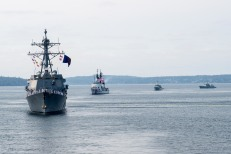 180731-N-DA737-0267 PUGET SOUND, Wash. (July 31, 2018) The guided-missile destroyer USS Momsen (DDG 92), U.S. Coast Guard Cutter Mellon (WHEC 717), and Kingston-class coastal defense vessels HMCS Whitehorse (710) and HMCS Yellowknife (706), sail in formation for the Parade of Ships as part of Seattle's Seafair Fleet Week. Seafair Fleet Week is an annual celebration of the sea services wherein Sailors, Marines and Coast Guard members from visiting U.S. Navy and Coast Guard ships and ships from Canada make the city a port of call. (U.S. Navy photo by Mass Communication Specialist 2nd Class Jonathan Jiang/Released)