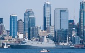180731-N-KH214-0134 SEATTLE (July 31, 2018) Amphibious transport dock ship USS Somerset (LPD 25) participates in the Parade of Ships in Elliott Bay during the 69th annual Seafair Fleet Week. Seafair Fleet Week is an annual celebration of the sea services wherein Sailors, Marines and Coast Guard members from visiting U.S. Navy and Coast Guard ships and ships from Canada make the city a port of call. (U.S. Navy photo by Mass Communication Specialist 2nd Class Scott Wood/Released)