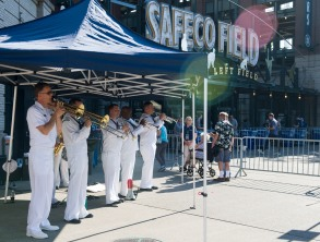 180731-N-KH214-0181 SEATTLE (July 31, 2018) Navy Band Northwest performs at Safeco Field as part of the 69th annual Seafair Fleet Week. Seafair Fleet Week is an annual celebration of the sea services wherein Sailors, Marines and Coast Guard members from visiting U.S. Navy and Coast Guard ships and ships from Canada make the city a port of call. (U.S. Navy photo by Mass Communication Specialist 2nd Class Scott Wood/Released)