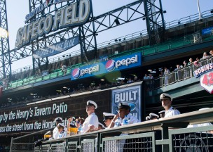 180731-N-KH214-0190 SEATTLE (July 31, 2018) Sailors watch the beginning of a Seattle Mariners baseball game at Safeco Field during a reception hosted by the Seattle Navy League to welcome officers and enlisted service members participating in the 69th annual Seafair Fleet Week. Seafair Fleet Week is an annual celebration of the sea services wherein Sailors, Marines and Coast Guard members from visiting U.S. Navy and Coast Guard ships and ships from Canada make the city a port of call. (U.S. Navy photo by Mass Communication Specialist 2nd Class Scott Wood/Released)