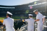 180731-N-KH214-0210 SEATTLE (July 31, 2018) Sailors watch the beginning of a Seattle Mariners baseball game at Safeco Field during a reception hosted by the Seattle Navy League to welcome officers and enlisted service members participating in the 69th annual Seafair Fleet Week. Seafair Fleet Week is an annual celebration of the sea services wherein Sailors, Marines and Coast Guard members from visiting U.S. Navy and Coast Guard ships and ships from Canada make the city a port of call. (U.S. Navy photo by Mass Communication Specialist 2nd Class Scott Wood/Released)