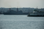 180731-N-SH284-0145 SEATTLE (July 31, 2018) Washington State Ferries M/V Tacoma auto and passenger ferry passes by Amphibious transport dock ship USS Somerset (LPD 25) at a parade of ships in Elliott Bay during the 69th annual Seafair Fleet Week. Seafair Fleet Week is an annual celebration of the sea services wherein Sailors, Marines and Coast Guard members from visiting U.S. Navy and Coast Guard ships and ships from Canada make the city a port of call. (U.S. Navy photo by Mass Communication Specialist 2nd Class Vaughan Dill/Released)