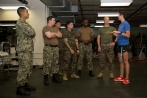 180801-M-OI329-1004 SEATTLE (Aug 1, 2018) U.S Marines and Sailors are briefed at the Young Men's Christian Association during Seafair Fleet Week. Seafair Fleet Week is an annual celebration of the sea services wherein Sailors, Marines and Coast Guard members from visiting U.S. Navy and Coast Guard ships and ships from Canada make the city a port of call. (U.S. Marine Corps photo by Cpl. Joseph Prado)