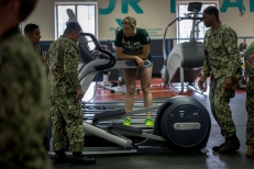 180801-M-OI329-1056 SEATTLE (Aug 1, 2018) U.S Marines and sailors assist in moving equipment at the Young Men's Christian Association during Seafair Fleet Week. Seafair Fleet Week is an annual celebration of the sea services wherein Sailors, Marines and Coast Guard members from visiting U.S. Navy and Coast Guard ships and ships from Canada make the city a port of call. (U.S. Marine Corps photo by Cpl. Joseph Prado)