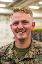 180801-M-ST406-1028 SEATTLE ( August 1, 2018) U.S. Marine Corps Cpl. Clint Hopke, a rifleman with 2nd Battalion, 7th Marine Regiment, 1st Marine Division, poses for a portrait during the 69th annual Seafair Fleet Week. Seafair Fleet Week is an annual celebration of the sea services wherein Sailors, Marines and Coast Guard members from visiting U.S. Navy and Coast Guard ships and ships from Canada make the city a port of call. (U.S. Marine Corps photo by Lance Cpl. Ana S. Madrigal)