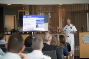 180801-N-DA737-0021 SEATTLE (August 1, 2018) Rear Adm. Scott Gray, commander, Navy Region Northwest, speaks at the second Seattle Seafair Fleet Week Stewardship Symposium at World Trade Center Seattle. Seafair Fleet Week is an annual celebration of the sea services wherein Sailors, Marines and Coast Guard members from visiting U.S. Navy and Coast Guard ships and ships from Canada make the city a port of call. (U.S. Navy photo by Mass Communication Specialist 2nd Class Jonathan Jiang/Released)