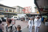 180801-N-DA737-0042 SEATTLE (August 1, 2018) Sailors assigned to amphibious transport dock ship USS Somerset (LPD 25), Engineman 3rd Class Carl Yana, Engineman 2nd Class Aaron Hass and Engineman 2nd Class Jacob Krebs (back), explore Pike Place Market in Seattle during Seafair Fleet Week. Seafair Fleet Week is an annual celebration of the sea services wherein Sailors, Marines and Coast Guard members from visiting U.S. Navy and Coast Guard ships and ships from Canada make the city a port of call. (U.S. Navy photo by Mass Communication Specialist 2nd Class Jonathan Jiang/Released)