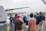 180802-N-DA737-0413 SEATTLE (Aug. 2, 2018) Ensign Maeve Owens and Interior Communications Electrician 1st Class Donald Evans lead a tour aboard the guided-missile destroyer USS Momsen (DDG 92) as part of Seattle Seafair Fleet Week. Seafair Fleet Week is an annual celebration of the sea services wherein Sailors, Marines and Coast Guard members from visiting U.S. Navy and Coast Guard ships and ships from Canada make the city a port of call. (U.S. Navy photo by Mass Communication Specialist 2nd Class Jonathan Jiang/Released)