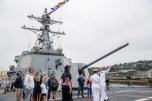 180802-N-DA737-0429 SEATTLE (Aug. 2, 2018) Ensign Maeve Owens and Interior Communications Electrician 1st Class Donald Evans lead a tour aboard the guided-missile destroyer USS Momsen (DDG 92) as part of Seattle Seafair Fleet Week. Seafair Fleet Week is an annual celebration of the sea services wherein Sailors, Marines and Coast Guard members from visiting U.S. Navy and Coast Guard ships and ships from Canada make the city a port of call. (U.S. Navy photo by Mass Communication Specialist 2nd Class Jonathan Jiang/Released)