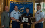 180801-N-KH214-0281 SEATTLE (Aug. 1, 2018) Seattle Navy League President Jeff Davis presents a plaque of appreciation to Capt. Stephen Burdian, commanding officer of U.S. Coast Guard Cutter Mellon (WHEC 717), for participating in the 69th annual Seafair Fleet Week during the Seattle Navy League Welcome Dinner held at the World Trade Center in downtown Seattle. Seafair Fleet Week is an annual celebration of the sea services wherein Sailors, Marines and Coast Guard members from visiting U.S. Navy and Coast Guard ships and ships from Canada make the city a port of call. (U.S. Navy photo by Mass Communication Specialist 2nd Class Scott Wood/Released)