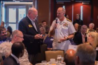 180801-N-SH284-0039 SEATTLE (Aug. 1, 2018) Rear Adm. Scott Gray, Commander, Navy Region Northwest, is recognized by the Seattle Rotary Club during a Seattle Rotary Club luncheon at Seattle's Bell Harbor Conference Center as part of the 69th annual Seafair Fleet Week. Seafair Fleet Week is an annual celebration of the sea services wherein Sailors, Marines and Coast Guard members from visiting U.S. Navy and Coast Guard ships and ships from Canada make the city a port of call. (U.S. Navy photo by Mass Communication Specialist 2nd Class Vaughan Dill/Released)