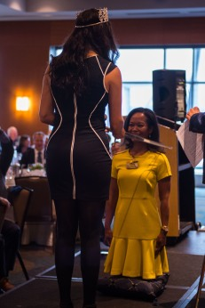 180801-N-SH284-0074 SEATTLE (Aug. 1, 2018) Cindy L. Runger, Seattle Rotary Club president, is knighted by Zoraida Valdovinos, Miss Seafair 2018-2019, during a Seattle Rotary Club luncheon at Seattle's Bell Harbor Conference Center as part of the 69th annual Seafair Fleet Week. Seafair Fleet Week is an annual celebration of the sea services wherein Sailors, Marines and Coast Guard members from visiting U.S. Navy and Coast Guard ships and ships from Canada make the city a port of call. (U.S. Navy photo by Mass Communication Specialist 2nd Class Vaughan Dill/Released)