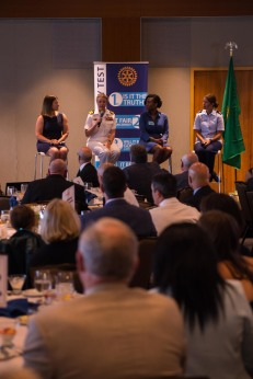 180801-N-SH284-0080 SEATTLE (Aug. 1, 2018) From left to right, Whitney Mason, U.S. Navy Lt. Cmdr. Laura Gallassero, Dianka Linear and U.S. Air Force Capt. Amanda Robillard, serve as the women in leadership panel discussion members during a Seattle Rotary Club luncheon at Seattle's Bell Harbor Conference Center as part of the 69th annual Seafair Fleet Week. Seafair Fleet Week is an annual celebration of the sea services wherein Sailors, Marines and Coast Guard members from visiting U.S. Navy and Coast Guard ships and ships from Canada make the city a port of call. (U.S. Navy photo by Mass Communication Specialist 2nd Class Vaughan Dill/Released)