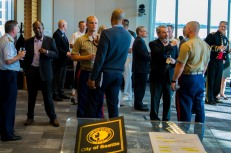 180801-N-SH284-1009 SEATTLE (Aug. 1., 2018) U.S. and Canadian military command leaders interact with local community leaders at the Seattle Mayor's reception during the 69th annual Seafair Fleet Week. Seafair Fleet Week is an annual celebration of the sea services wherein Sailors, Marines and Coast Guard members from visiting U.S. Navy and Coast Guard ships and ships from Canada make the city a port of call. (U.S. Navy photo by Mass Communication Specialist 2nd Class Vaughan Dill/Released)