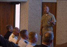 180802-N-KH214-0020 SEATTLE (August 2, 2018) Rear Adm. Darren Hanson, deputy commander of U.S. Third Fleet, speaks during the Seattle Seafair Defense Support of Civil Authorities (DSCA) Senior Leadership Engagement Session at the Jackson Federal Building in downtown Seattle. Seafair Fleet Week is an annual celebration of the sea services wherein Sailors, Marines and Coast Guard members from visiting U.S. Navy and Coast Guard ships and ships from Canada make the city a port of call. (U.S. Navy photo by Mass Communication Specialist 2nd Class Scott Wood/Released)