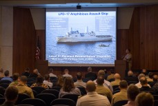 180802-N-KH214-0044 SEATTLE (August 2, 2018) Commander, 3rd Fleet Surgeon Capt. Peter Roberts speaks during the Seattle Seafair Defense Support of Civil Authorities (DSCA) Senior Leadership Engagement Session at the Jackson Federal Building in downtown Seattle. Seafair Fleet Week is an annual celebration of the sea services wherein Sailors, Marines and Coast Guard members from visiting U.S. Navy and Coast Guard ships and ships from Canada make the city a port of call. (U.S. Navy photo by Mass Communication Specialist 2nd Class Scott Wood/Released)