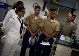 180803-M-OI329-1001 SEATTLE (Aug. 3, 2018) U.S Marines and Sailors visit the Veteran's Affairs Puget Sound Health Care System during Seafair Fleet Week in Seattle. Seafair Fleet Week is an annual celebration of the sea services wherein Sailors, Marines and Coast Guard members from visiting U.S. Navy and Coast Guard ships and ships from Canada make the city a port of call. (U.S. Marine Corps photo by Cpl. Joseph Prado)