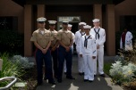 180803-M-OI329-1005 SEATTLE (Aug. 3, 2018) U.S Marines and Sailors visit the Zachary and Elizabeth Fisher House during Seafair Fleet Week in Seattle. Seafair Fleet Week is an annual celebration of the sea services wherein Sailors, Marines and Coast Guard members from visiting U.S. Navy and Coast Guard ships and ships from Canada make the city a port of call. (U.S. Marine Corps photo by Cpl. Joseph Prado)