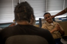 180803-M-OI329-1009 SEATTLE (Aug. 3, 2018) U.S Marines and Sailors visit the Veteran's Affairs Puget Sound Health Care System during Seafair Fleet Week in Seattle. Seafair Fleet Week is an annual celebration of the sea services wherein Sailors, Marines and Coast Guard members from visiting U.S. Navy and Coast Guard ships and ships from Canada make the city a port of call. (U.S. Marine Corps photo by Cpl. Joseph Prado)