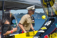 180804-M-ST406-1008 SEATTLE ( August 4, 2018) U.S. Marine Corps Chief Warrant Officer 2 Aaron McCatty, executive officer of Task Force Seattle, looks at the hydroplanes at the Seafair Weekend Festival during Seafair Fleet Week. Seafair Fleet Week is an annual celebration of the sea services wherein Sailors, Marines and Coast Guard members from visiting U.S. Navy and Coast Guard ships and ships from Canada make the city a port of call. ( U.S. Marine Corps photo by Lance Cpl. Ana S. Madrigal)