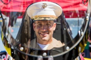 180804-M-ST406-1018 SEATTLE ( August 4, 2018) U.S. Marine Corps Maj. Michael Jiabla, the commander of troops for Task Force Seattle, poses for a portrait during Seafair Weekend Festival during Seafair Fleet Week. Seafair Fleet Week is an annual celebration of the sea services wherein Sailors, Marines and Coast Guard members from visiting U.S. Navy and Coast Guard ships and ships from Canada make the city a port of call. ( U.S. Marine Corps photo by Lance Cpl. Ana S. Madrigal)