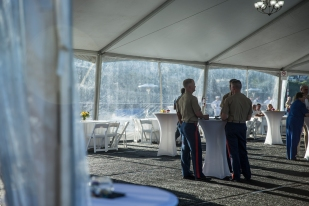 180804-M-ST406-2008 SEATTLE ( August 5, 2018) U.S. Marines attend a reception aboard amphibious transport dock ship USS Somerset (LPD 25) during Seattle Fleet Week. Seafair Fleet Week is an annual celebration of the sea services wherein Sailors, Marines and Coast Guard members from visiting U.S. Navy and Coast Guard ships and ships from Canada make the city a port of call. ( U.S. Marine Corps photo by Lance Cpl. Ana S. Madrigal)