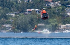 180804-N-KH214-1114 SEATTLE (August 4, 2018) The U.S. Coast Guard Search and Rescue team demonstrate a rescue scenario during Seafair Weekend at Genesee Park as part of the 69th annual Seafair Fleet Week. Seafair Fleet Week is an annual celebration of the sea services wherein Sailors, Marines and Coast Guard members from visiting U.S. Navy and Coast Guard ships and ships from Canada make the city a port of call. (U.S. Navy photo by Mass Communication Specialist 2nd Class Scott Wood/Released)