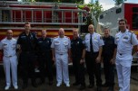 180804-N-SH284-0005 SEATTLE (Aug. 4, 2018) Vice Adm. John D. Alexander, commander, U.S. 3rd Fleet, Force Master Chief Jack Collision and Flag Aide Lt. Ryan Yorkman pose for a photo with members of Seattle Firehouse #40 during the 69th annual Seafair Fleet Week. Seafair Fleet Week is an annual celebration of the sea services wherein Sailors, Marines and Coast Guard members from visiting U.S. Navy and Coast Guard ships and ships from Canada make the city a port of call. (U.S. Navy photo by Mass Communication Specialist 2nd Class Vaughan Dill/Released)