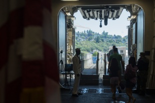 180805-M-ST406-1117 SEATTLE ( August 5, 2018) U.S. Marines and Sailors give tours aboard amphibious transport dock ship USS Somerset during Seattle Fleet Week. Seafair Fleet Week is an annual celebration of the sea services wherein Sailors, Marines and Coast Guard members from visiting U.S. Navy and Coast Guard ships and ships from Canada make the city a port of call. ( U.S. Marine Corps photo by Lance Cpl. Ana S. Madrigal)