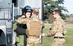 181108-N-KH214-0094 OAK HARBOR, Wash. (Nov. 8, 2018) Sailors from Explosive Ordnance Disposal (EOD) Detachment Northwest, assigned to Naval Air Station (NAS) Whidbey Island, prepare to defuse a Personnel-Carried Improvised Explosive Device (PCIED) while participating in a drill scenario for the anti-terrorism exercise Reliant Defense on Whidbey Island. Reliant Defense is an anti-terrorism and force-protection exercise conducted to ensure that the Navy is ready to respond to changing and dynamic threats at all times. (U.S. Navy photo by Mass Communication Specialist 2nd Class Scott Wood/Released)