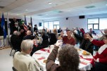 181109-N-DA737-0024 SHORELINE, Wash. (Nov. 9, 2018) Attendees of the Shoreline-Lake Forest Park Senior Recreation Center Veterans Day Tribute Program raise their glasses to honor service members who are still missing in action. The event was held by Shoreline-Lake Forest Park to honor veterans both past and present. (U.S. Navy photo by Mass Communication Specialist 2nd Class Jonathan Jiang/Released)