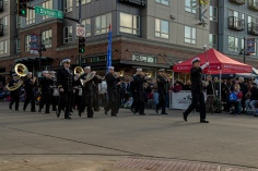 181110-N-ZP059-0124 AUBURN, Wash. (Nov. 10, 2018) Members of Navy Band Northwest march down Main Street in Auburn, Wash., during the 53rd annual Veterans Day Parade. The mile-long parade featured more than 200 entries, including drill teams, veterans' floats, marching bands, and antique military vehicles. (U.S. Navy photo by Mass Communication Specialist 2nd Class Jacob G. Sisco/Released)