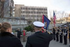 181111-N-DA737-0007 EVERETT, Wash. (Nov. 11, 2018) Capt. Mike Davis, commanding officer of Naval Station Everett, salutes at the singing of the national anthem during the Snohomish County Memorial Committee Veterans Day Ceremony. The Memorial Committee is made up of several local service and veterans groups and can trace its history back to 1918. (U.S. Navy photo by Mass Communication Specialist 2nd Class Jonathan Jiang/Released)